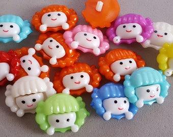 10 buttons acrylic girl 23 x 18 mm, fancy knit girl buttons buttons buttons