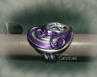 Oval Ring of silver and lilac
