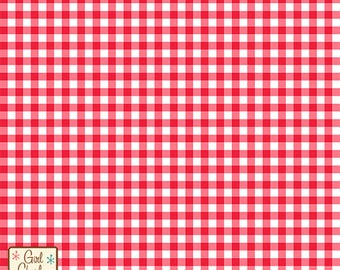 Bittersweet Red Gingham Cotton Jersey Blend Knit Fabric **UK Seller**