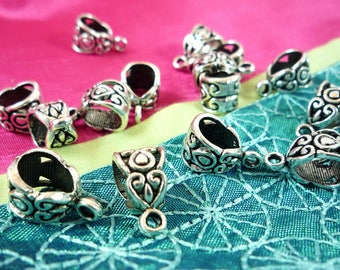 5 beads for bracelet charms silver 14X8mm (AP37) bails