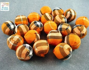 5 large fabric Scottish orange beads, 21mm (pt18)