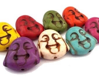8 beads Buddha howlite, 8 colors, 10x18x20mm (PH85)
