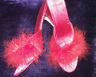 Red Peep Toe Feather Slip-On Heels