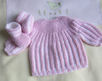 """Jacket and booties """"pink and white"""" baby size newborn"""