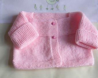 """Newborn pink"" baby jacket - handmade knit"