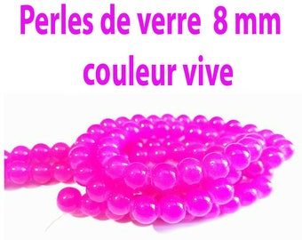 8 mm / 25 8 mm Fuchsia glass beads