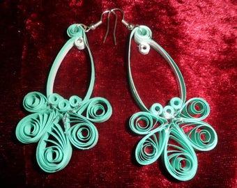quilling pattern earrings half flower