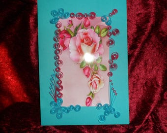 card any occasion pink quilling pattern
