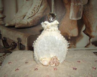 Elegant bottle shabby, ecru velvet, beaded tulle ruffles and flowers
