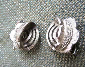 50s-60s  Silver Tone Metal & Rhinestone Clip On Earrings Vintage Mad Men Mid Century