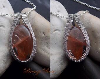 Unique Hand crafted wire wrapped hematoid quartz necklace