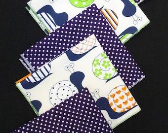 """SET of 5 handkerchiefs """"Snails"""" & """"Dots"""" fabric"""