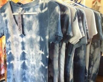 shibori dyed indigo blue handmade 100% cotton t's