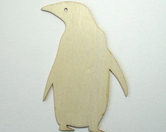 Penguin cut out of natural wood, 95 mm x 64 mm.