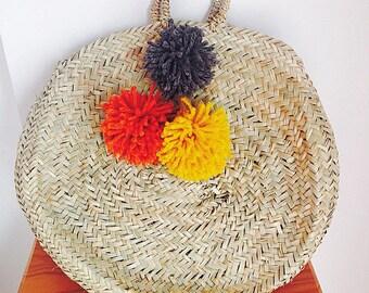 ESME- Round Moroccan Straw Basket - Ibiza French Market Shopper- Beach Bag- Leather Handle-  Pom Pom- Bohemian Hippie Style -