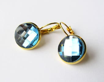 Faceted Sapphire imitation glass cabochon earrings