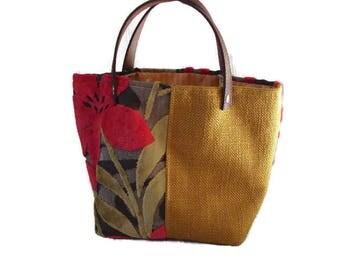 tote bag, red, mustard velvet, canvas, mustard