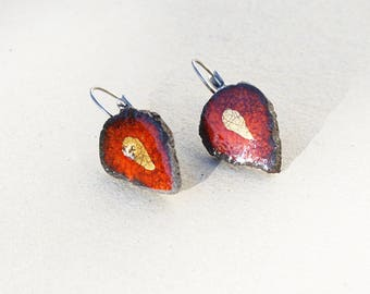 Drop earrings red and gold glazed lava point