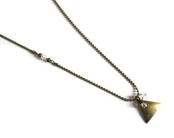 Necklace brass triangle and swarovski pearls