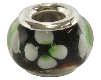 2 black white flower Lampwork Glass Beads/Charms