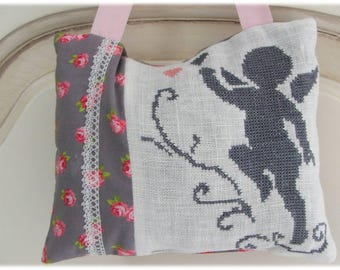 Scented with Lavender embroidered Angel design pillow