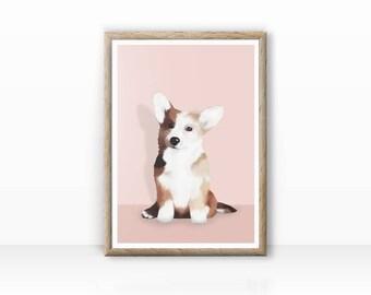 Corgi illustration, dog portrait, digital version available