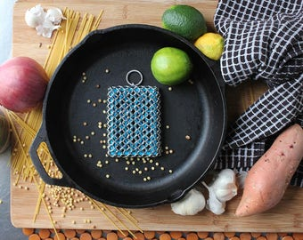 Hand woven Chain mail Cast Iron Scrubber
