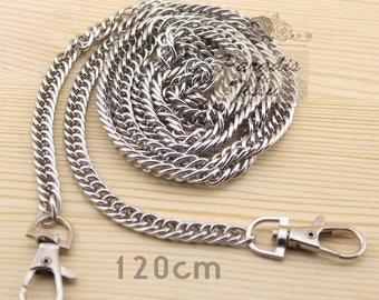 Set of 5 pieces 120cm chain mesh for bag with carabiner clip