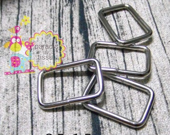 20 x Stirrups 2.5x1.5cmx2.8mm silver rectangular shaped loop ring