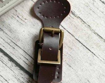 1 clasp buckle satchel bag purse sewing 3.6 * 9cmcuir genuine dark brown color