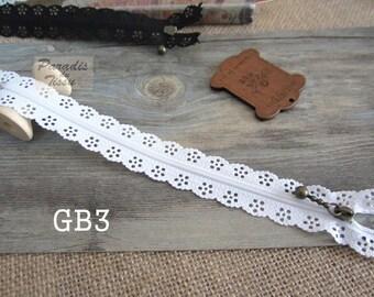 1 x zipper fancy lace lace 20 cm white GB3