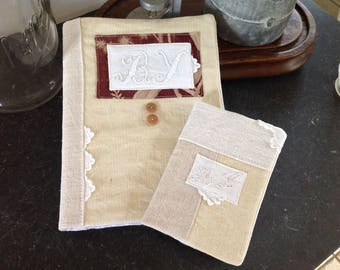 Protects notebook made from old linen, monogrammed BY