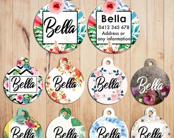 Metal Steel Personalized Pet Tags cat Tag dog Tag Custom ring Name Tags flora flower Pattern print