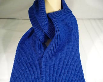 Acrylic knitted scarf, royal blue