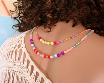 Neon beads and toggle clasp neck jewelry necklace original kamela
