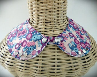 Detachable collar type cotton liberty style pink and Blue Peter Pan collar
