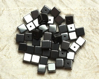 Wire 62pc - stone beads - Hematite Cubes 6 mm approx 39cm