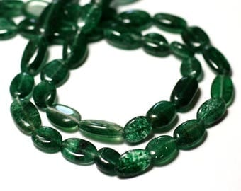 Wire 34cm approx - stone beads - Aventurine 32pc green Olives oval 8-15mm - 8741140012660