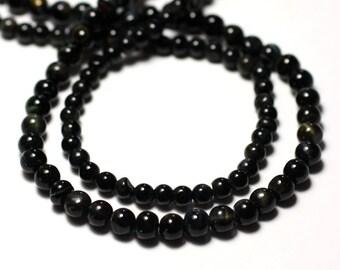 Wire 33cm 71pc env - stone beads - Hawk Eye - Tiger blue black balls 3-4mm - 8741140012424