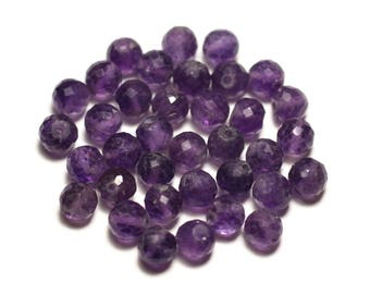 Stone - Amethyst faceted 5mm ball - 8741140020276 bead 1pc-