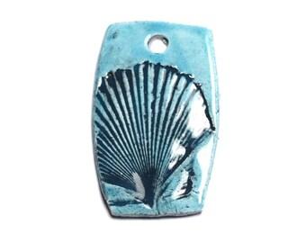 N3 - porcelain ceramic sea shell 48mm blue Turquoise pendant - 8741140003866