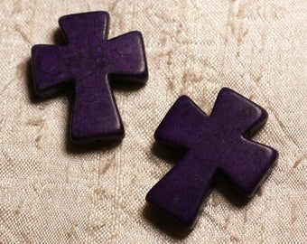 2PC - beads Turquoise synthetic cross purple 4558550007223 35x30mm