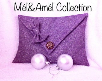 Handmade shiny fabric pouch