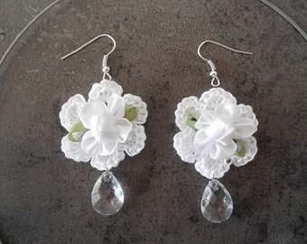 crochet white flower,crochet jewelry