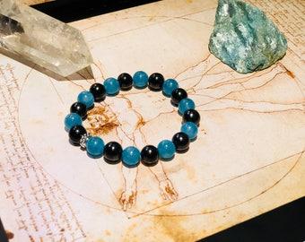 Shungite bracelet with blue quartz   S-M, emf protecting and chakra healing, fullerene jewelry,magic stone, pagan bracelet,reiki crystals