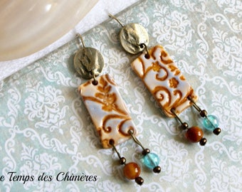 Earrings bronzes hippie Bohemian chic in cold porcelain brown orange and glass beads