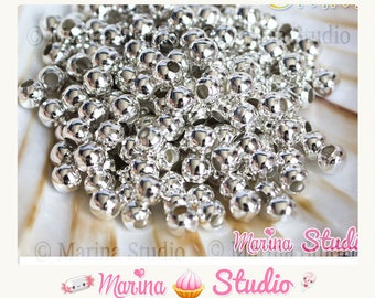 100 beads 4mm shiny silver color MS01635