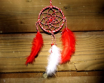 Miniature Dreamcatcher / red and white / actual 20 cm