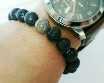 Lava stone and agate Bead Bracelet