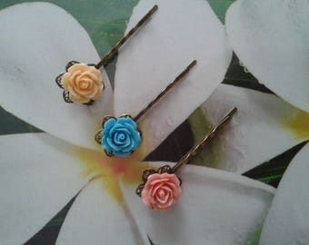 3 clips fimo flowers pink blue yellow